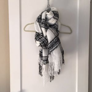 Large and Long White and Black Plaid Knit Scarf